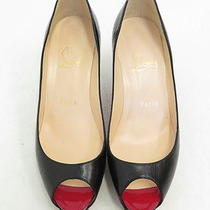 Christian Louboutin Very Prive Pump Black Leather Size 36  Gently Worn Photo