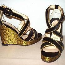 Christian Louboutin Viva Zeppa  Black Velvet Gold Brocade Wedge Sandals Shoes 37 Photo