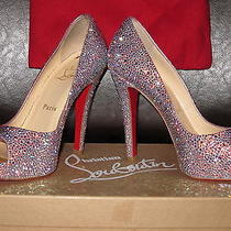 Christian Louboutin Wedding Crystal Very Riche Peep Toe Pump Shoes Size 5.5 Photo