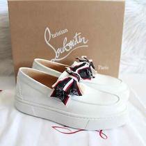 Christian Louboutin White Ferry Paquet Bow Slip on Platform Sneakers Sz 38 845 Photo