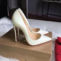 Christian Louboutin White Heels Patent Leather Pumps 35.5 So Kate Photo