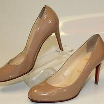 Christian Louboutin Womens 36.5 6.5 Nude Leather Heels Pumps Shoes Italy Made Photo