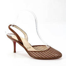 Christian Louboutin Womens Leather Round Toe High Heel Slingbacks Brown Size 8 Photo