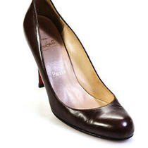 Christian Louboutin Womens Leather Solid Stiletto Class Pumps Brown Size 9 39 Photo