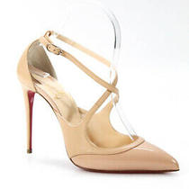 Christian Louboutin Womens Patent Leather Pumps Nude Size 37.5 7.5 Photo