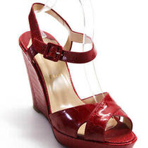 Christian Louboutin Womens St. Pierre Ostrich Wedge Sandals Red Size 40 10 Photo