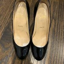 Christian Louboutin Womens Stiletto Heel Pumps Black Patent Leather Size 38.5 Photo