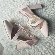 Christian Siriano Light Pink/ Blush Lace-Up Block Heel Photo