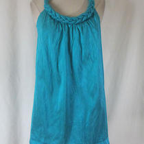 Christiane Celle Calypso Bright Aqua Textured Sleeveless Silk Dress- Size Xs As Photo