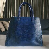 Christie Blue Lizard Skin Tote Women Bag With Python Snake Skin Trim  Photo