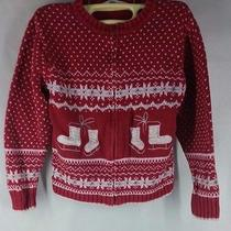 Christie Brookes Red Pink Girls Sweater Size M (5-6) Long Sleeve Zipper C043 Photo