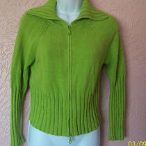 Christie Brooks Girls Cardigan Sweater Green Size M 10/12 Cable Knit Zip Front Photo