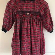 Christie Brooks Girls Plaid Smocked Velvet Collar Dress Size S 5-6 Photo