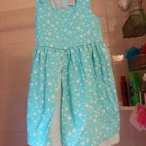 Christie Brooks Girls Size Medium 5-6 Pretty Blue Dress With Flowers/checks Photo