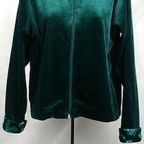 Christie Brooks  Ladies Dk Grn Velour Jacket W Grn Roses on Collar / Cuff  L/14  Photo