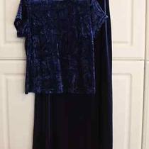 Christie Brooks Sz 14 Short Sleeve Blue 2 Piece Shirt & Skirt Modest & Formal  Photo