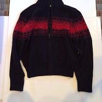 Christie Brooks Zipper Sweater Size L (14) Black With Red Photo