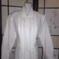Christie & Jill - 14p -Women's -White -Pleated - Dress -Shirt - Size 14p - New Photo