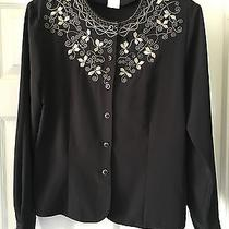Christie & Jill Black Top or Jacket With Gold Embroidery Size 10 Holiday Perfect Photo