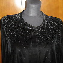 Christie & Jill Black Velvet Jacket W Attached Tank L Sparkles Scoop Neck Photo