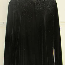 Christie & Jill Black Velvet W/ Sparkles 2fer 2x Faux Twinset Jacket Size Xl Nwt Photo