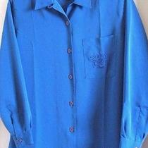 Christie & Jill Blouse M-14 Solid Blue Embroidered Patch Pocket L/s New Photo
