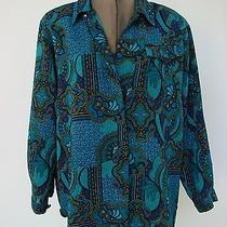 Christie & Jill - Bright Colors Textured Poly Long Sleeve Blouse - Size M Nwot Photo