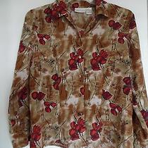 Christie & Jill Brown Floral  Print Long Sleeve Top Shirt Blouse Sz 8 Photo