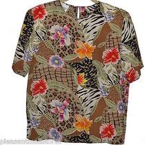 Christie & Jill Floral Print Blouse Tan 100% Silk Summer Wear Medium Euc Photo