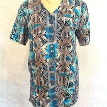 Christie & Jill Gauze Style Polyester Blue & Beige Print Buttondown Top Size Ps Photo