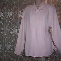 Christie & Jill Gently Worn Polyester Long Sleeve Career Blouse With Necklace 12 Photo
