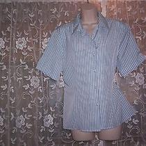 Christie & Jill Gently Worn Polyester Short Sleeve Striped Blouse   14 Photo