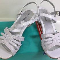Christie & Jill Girl's White Sparkly Dress Shoes 4m Communion Easter 2