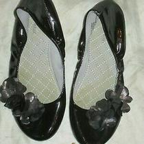 Christie & Jill Girls Faux Patent Leather Ballet Flats Size 4m- Black Photo