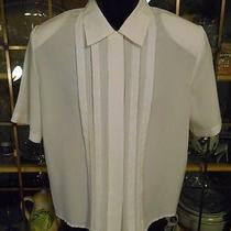 Christie & Jill Polyester Petites 11p Solid White Short Slve Casual Button Shirt Photo