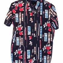Christie & Jill Size 3x Rose Print Floral Blouse Top Shirt Tunic Short Sleeve Photo