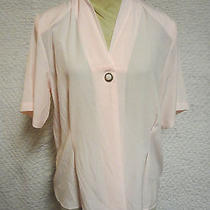 Christie & Jill Solid Pink Women's Silk Look Polyester Blouse Size 10 Photo