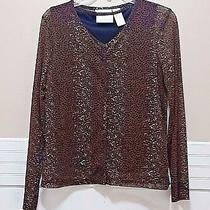 Christie & Jill Twinset Cardigan v-Neck Tank Top Shirt Medium Leopard Sweater Photo