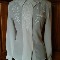 Christie & Jill Vintage White  Embroidered Blouse  12 Photo