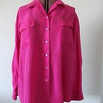 Christie & Jill Women Plus Xl 1x Relaxed Silk Blouse Button Down Shirt Pink Top Photo