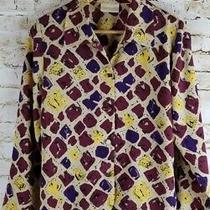 Christie & Jill Womens Sz M Beige Red Long Sleeve Button Down Blouse Top Shirt Photo