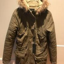 Christina Gavioli Parker Jacket Size S Green Khaki With Fur and Teddy Inside Photo