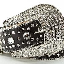 Christine Alexander Black Swarovski Crystal Black Leather Belt Size L Photo
