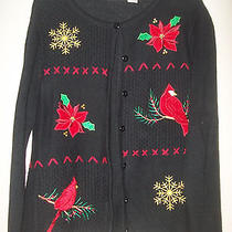 Christmas Cardigan Sweater Red Birds Beads Classic Elements - -Lp Large Petite Photo