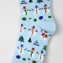 Christmas Crew Socks Snowman Rows Sparkle Balls Trees Aqua Holiday Womens 9-11  Photo