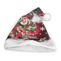 Christmas Hat Print Christmas Elements Polyester Gift Red Santa Hat Unisex Comfo Photo