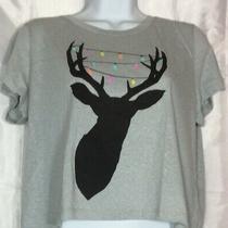 Christmas Holiday Shirt Size L Gray Reindeer Antler Glitter Lights Aeropostale Photo