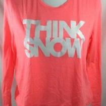 Christmas Holiday Shirts Sz Xl Pink Long Sleeve Aeropostale Think Snow Crop Top Photo