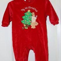 Christmas My 1st Christmas Pj's Avon Red Velour One Piece Footed Pajamas 3-6 Mos Photo