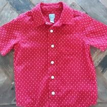 Christmas Red & White Gap Collared Ss Shirt-100% Cotton-Boys Size 4 Photo